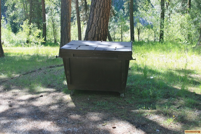 A picture of the gabage dumpster at Abbot Campground