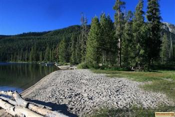 A picture of the beach at Alturas Lake Inlet Campground