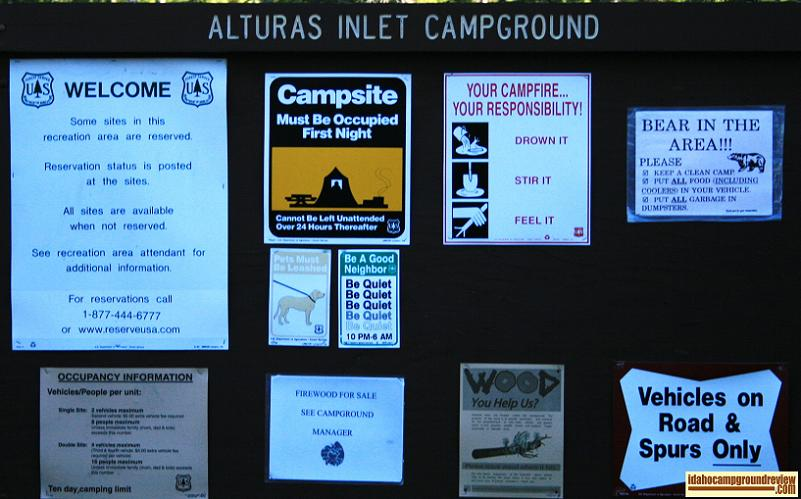 A picture of the signs at Alturas Lake Inlet Campground in the Sawtooth Mountains of Idaho.