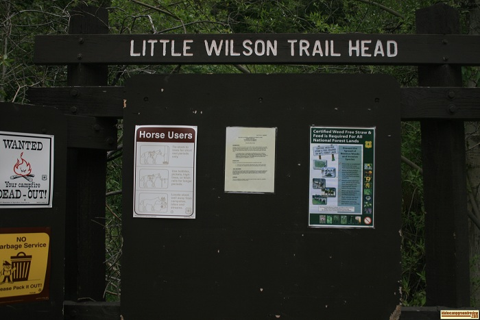 Litlle Wilson Creek Trailhead sign