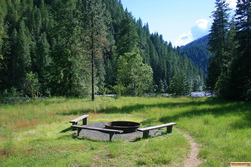Apgar Campground on the Lochsa River in the Clearwater National Forest