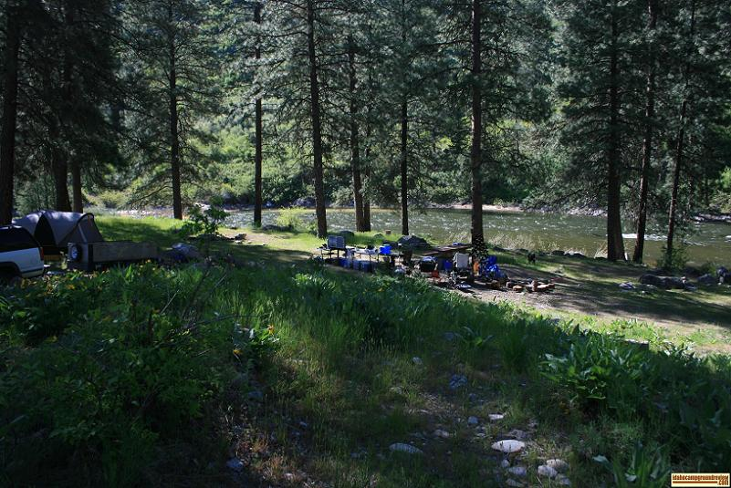 view of badger creek forest camp camping site 2 with the boise river
