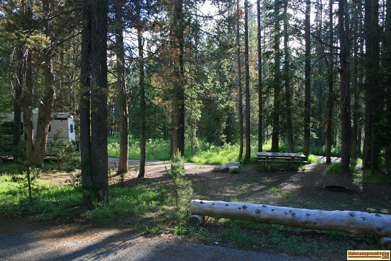RV camping site in Banner Creek Campground off Hwy 21 about 20 miles from Stanley, Idaho.