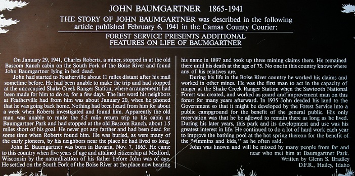 This is an info sign about John Baumgartner.