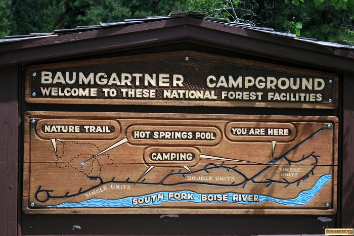 Baumgartner Campground has a beautiful wooden campground map.