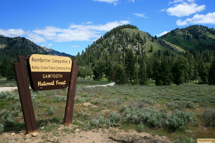 This is the sign you will look for on the main road to find Baumgartner Campground.