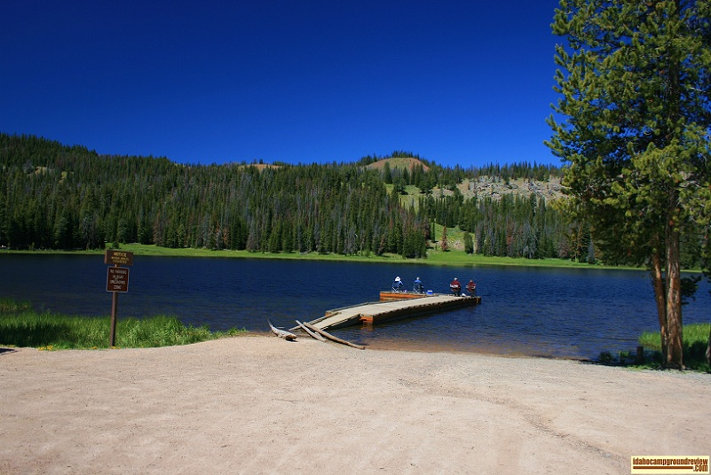 This is the boat access and one of the fishing docks a Bayhorse Lake near Challis, Idaho.