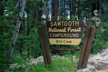 Bird Creek Campground  camping, sign.