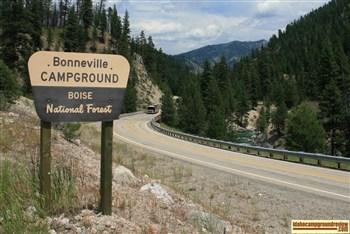 Bonneville Campground on the South Fork of the Payette River.