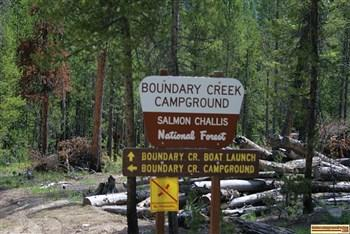 Boundary Creek Campground sign