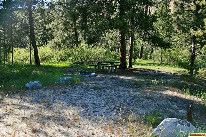 A campsite in Bowns Campground.