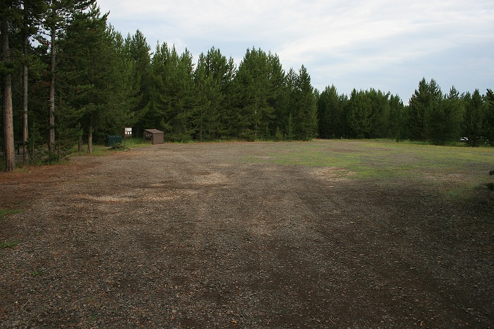 There is a large parking area in the center of the campsite loop for extra vehicles and RVs.
