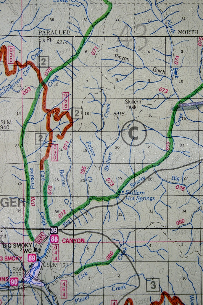 This a map of the area around Canyon Creek Transfer Camp on Big Smokey Creek.