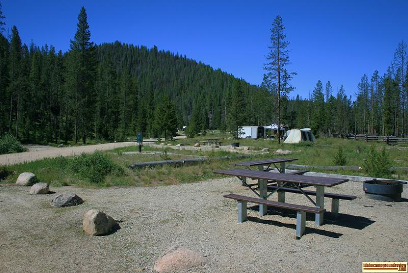 View of Casino Creek Campground on the Salmon River NE of Stanley, Idaho.