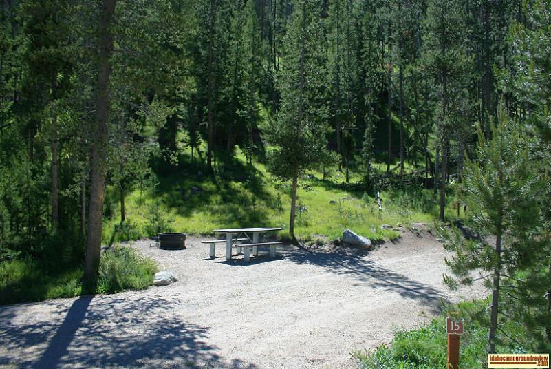 RV camping site in Casino Creek Campground on the Salmon River NE of Stanley, Idaho.