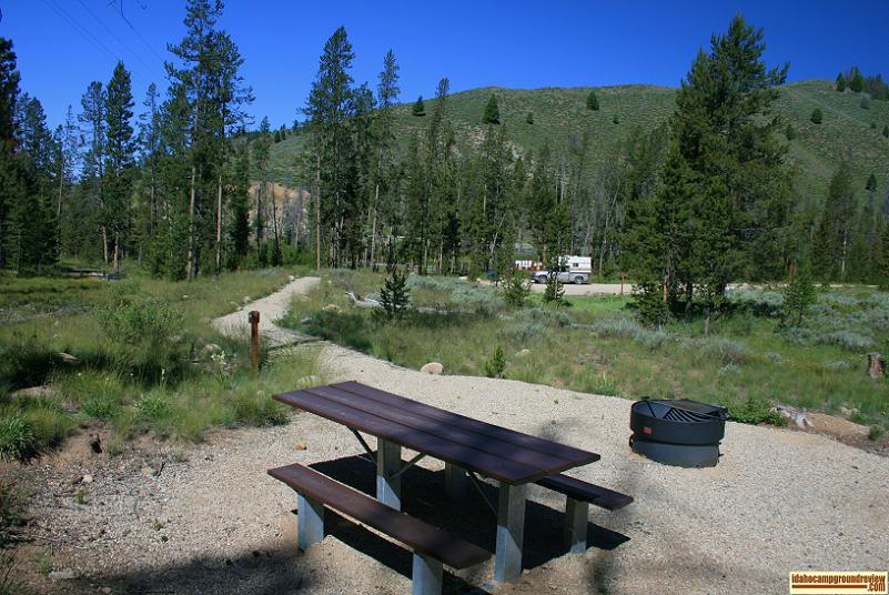 Walk-in camp site in Casino Creek Campground on the Salmon River NE of Stanley, Idaho.