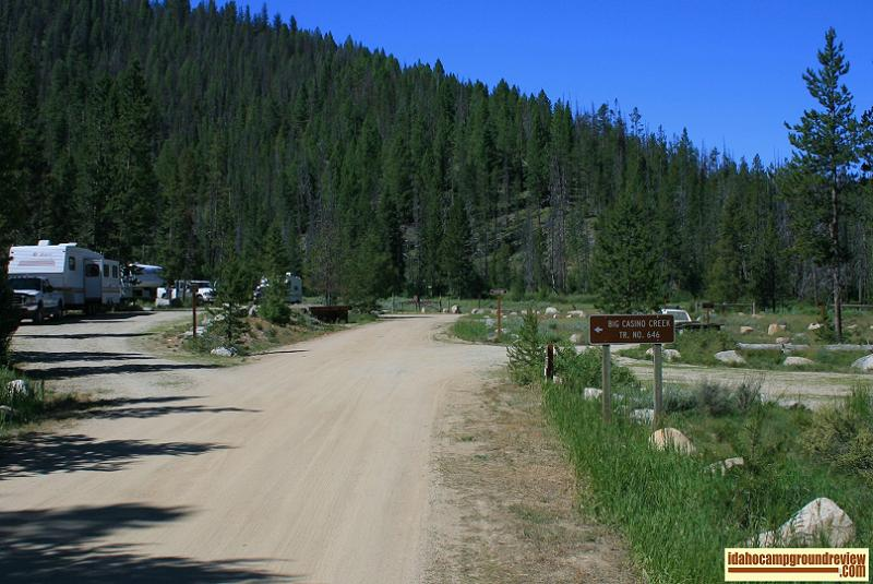 This a view of the trailhead at Casino Creek Campground on the Salmon River NE of Stanley, Idaho.