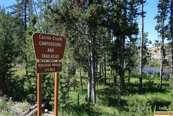 Entrance to Casino Creek Campground on the Salmon River NE of Stanley, Idaho.