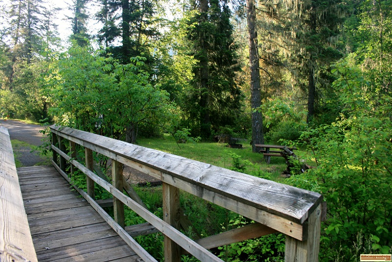 Bridge and campsite in Castle Creek Campground.