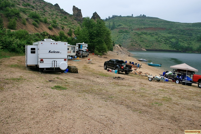 Even the beach is used for a campsite if the water is low, camping in Castle Creek Campground on Anderson Ranch Reservoir.