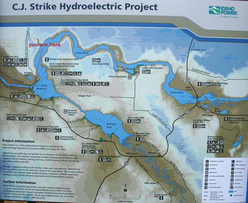 This map is posted in several locations around CJ Strike Reservoir. It shows the locations of most of the recreational opportunities around the reservoir.