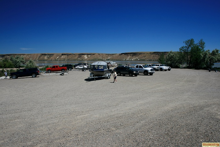 This is the main park ing lot for the boat ramp at Cottonwood Park.