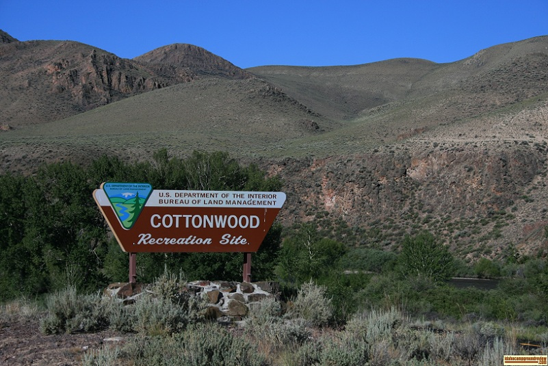 The sign at the entrance to Cottonwood Recreation Site near Challis, Idaho.