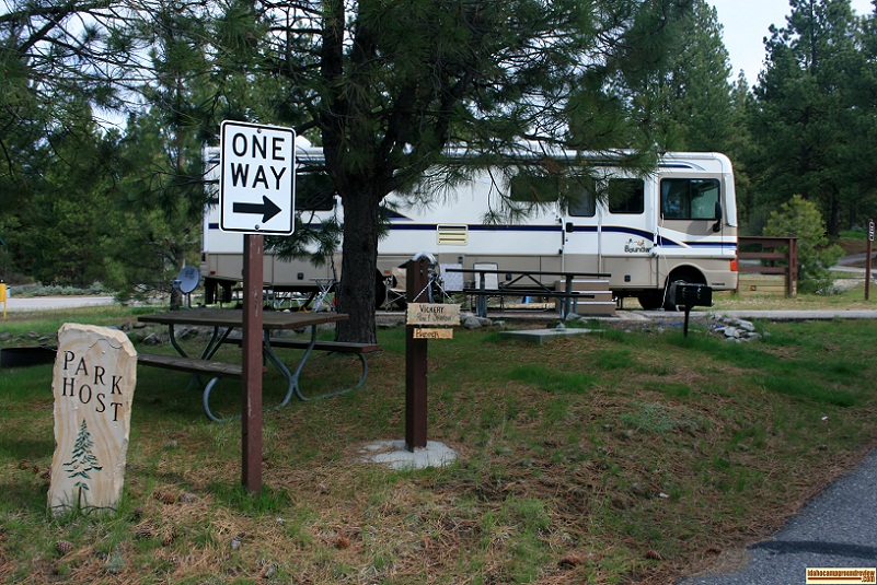 Camp host at Crown Point Campground, part of Lake Cascade State Park.