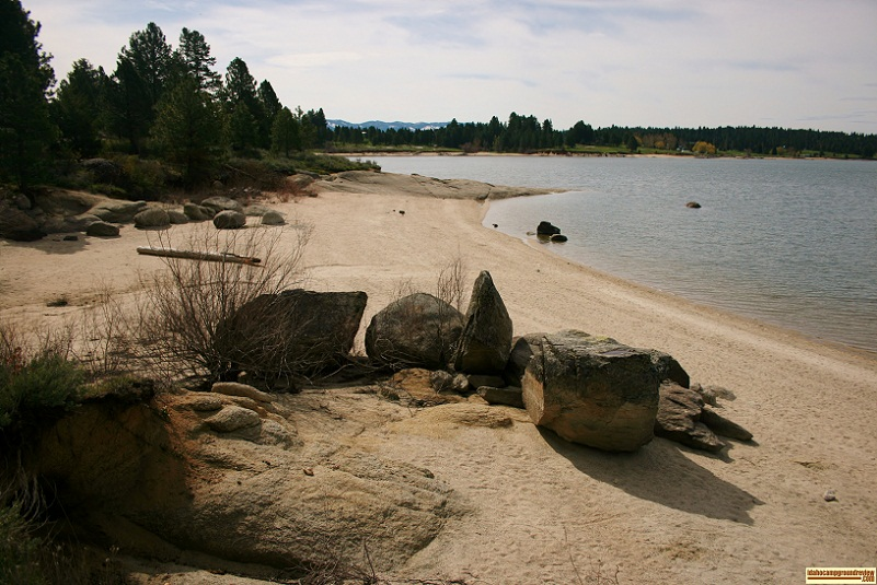 Main beach at Crown Point Campground, part of Lake Cascade State Park.