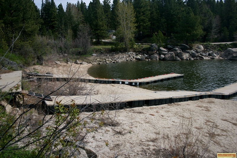 Mooring docks at Crown Point Campground, part of Lake Cascade State Park.