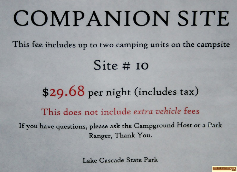 Fee information sign in Crown Point Campground.