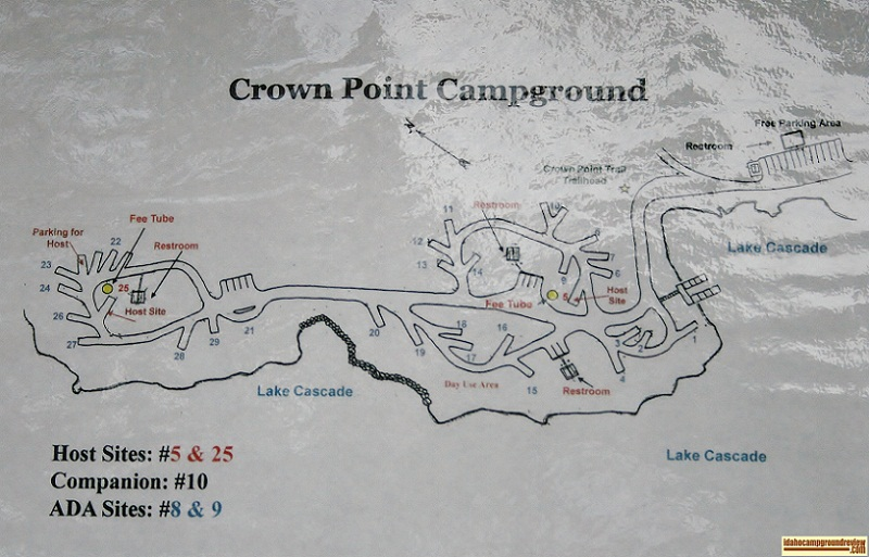 The map of Crown Point Campground, part of Lake Cascade State Park.