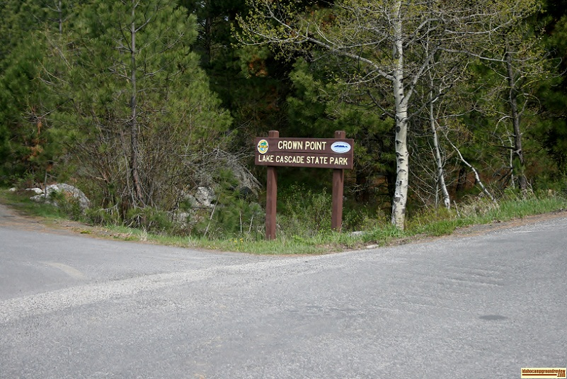 Entrance to Crown Point Campground, part of Lake Cascade State Park.