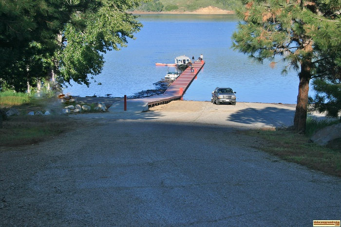 This is the boat ramp and handling dock at Curlew Creek Boat Ramp & Campground on Anderson Ranch Reservoir.