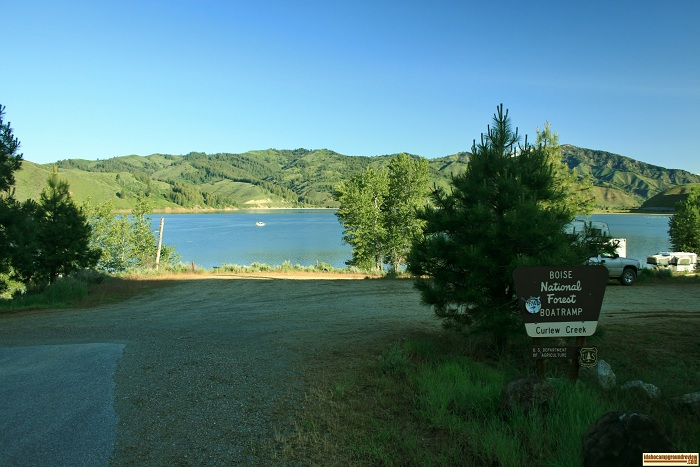 This is the entrance to Curlew Creek Boat Ramp & Campground on Anderson Ranch Reservoir.
