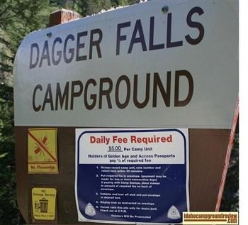 Dagger Falls Campground Site sign and info