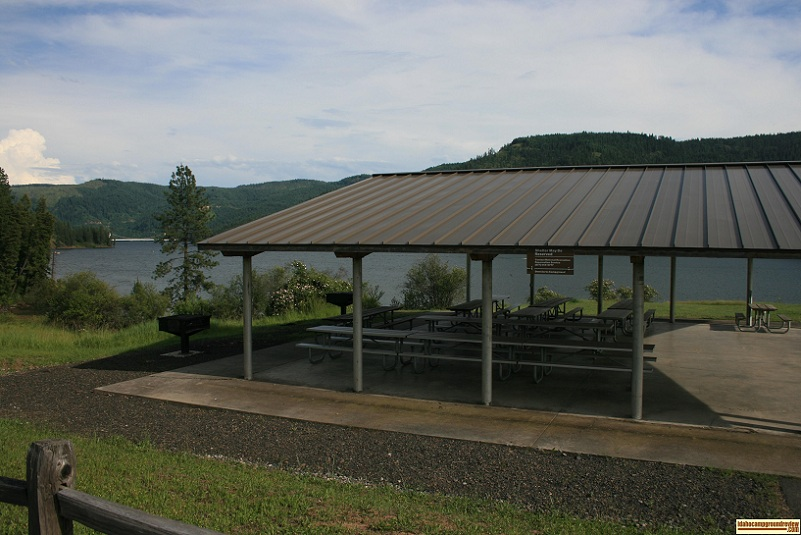 Dent Acres Recreation Sites group shelter and barbeque grill.
