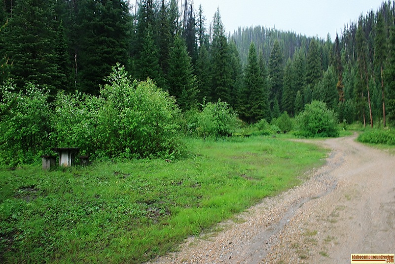 View of campsites at Ditch Creek Campground near Elk City, Idaho.