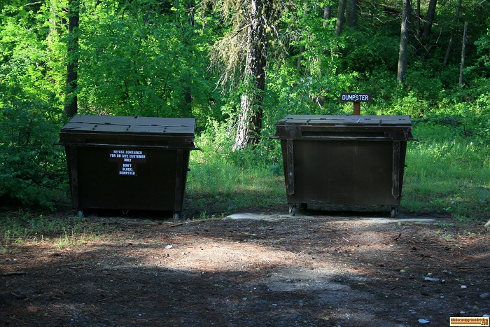 Dog Creek Campground has garbage service by these dumpsters.