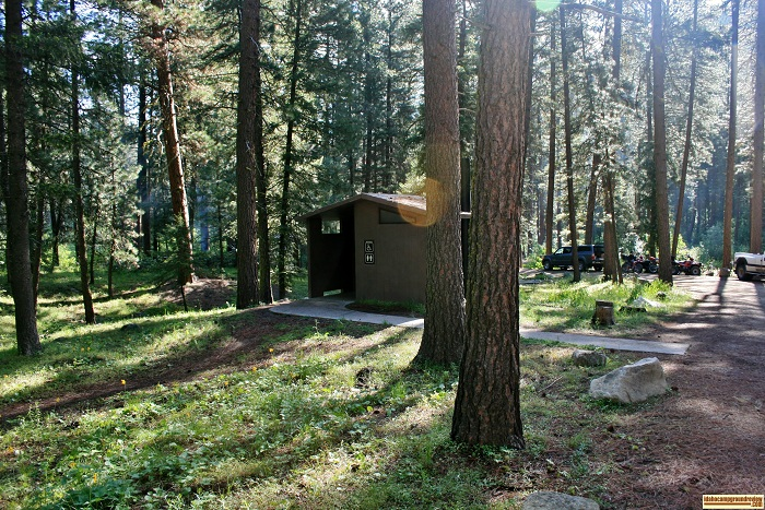 One of two vault style outhouses in Dog Creek Campground, for those who love camping in Idaho.