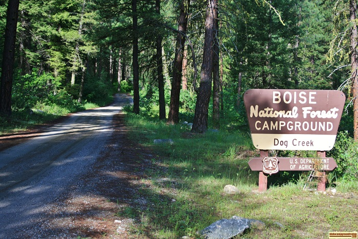 Dog Creek Campground sign, for those who love camping in Idaho.
