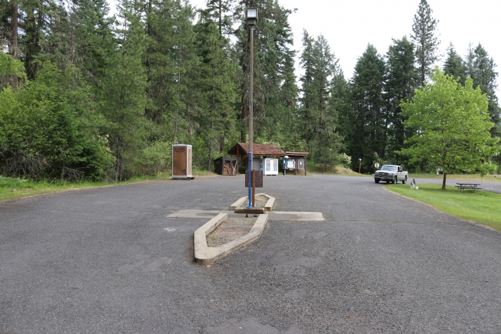 The RV dump station is near the entrance to the park.