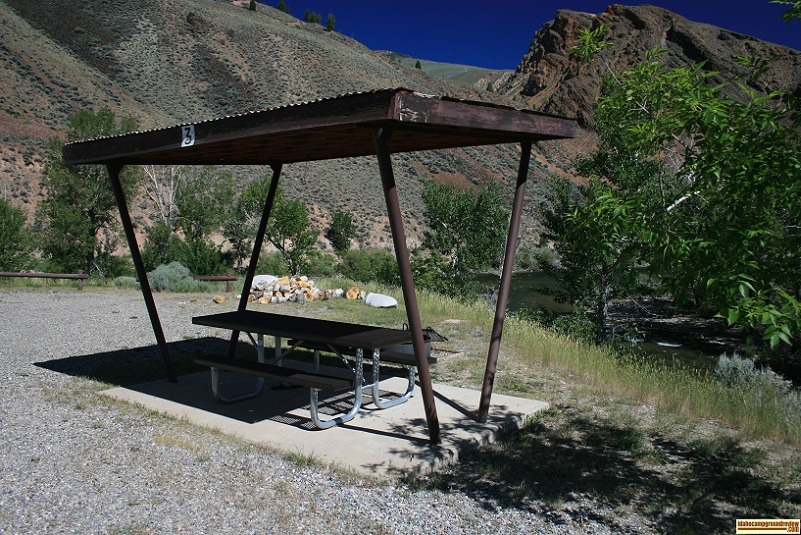 This is Site #3 in East Fork Recreation Site on the Salmon River south of Challis, Idaho.