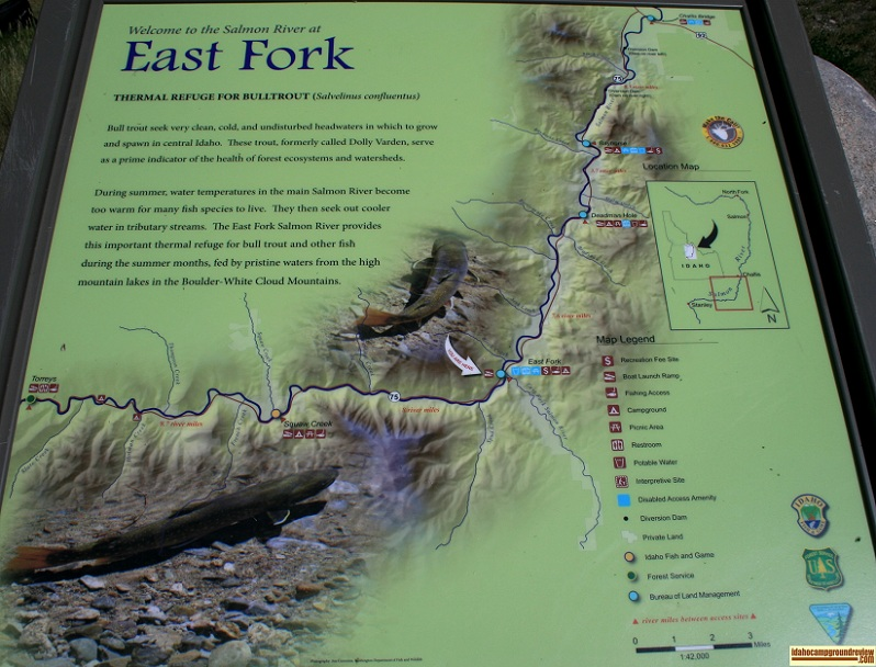 Map of points of interest near East Fork Recreation Site.