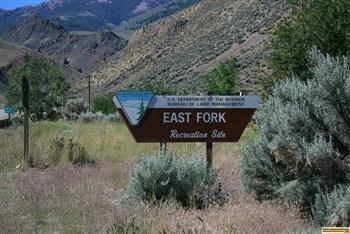 The sign at the entrance to East Fork Recreation Site on the Salmon River south of Challis, Idaho.