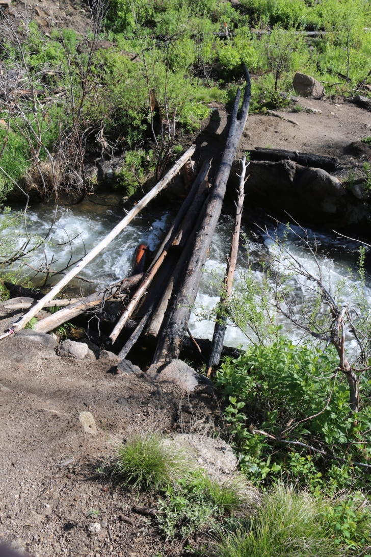 The bridges on the side streams were missing or in poor repair.