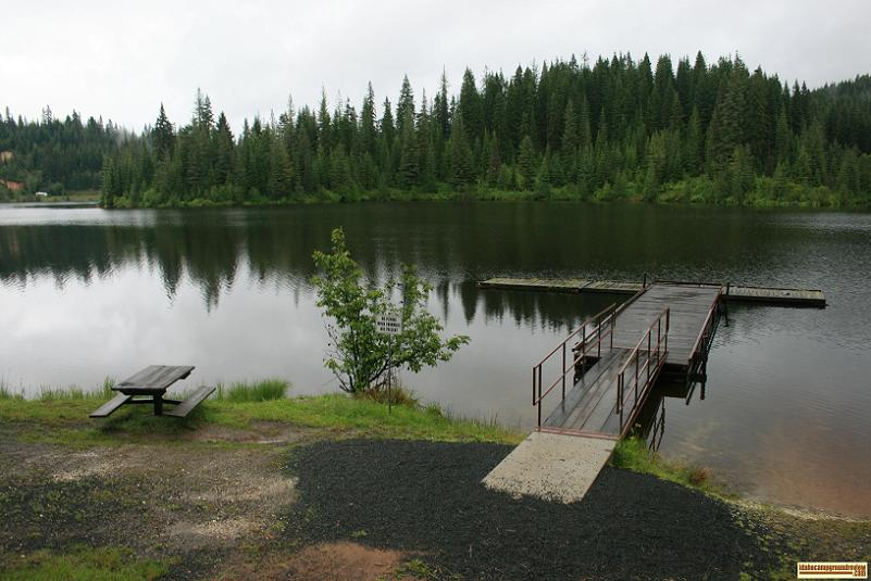 Swimming dock at elk creek reservoir
