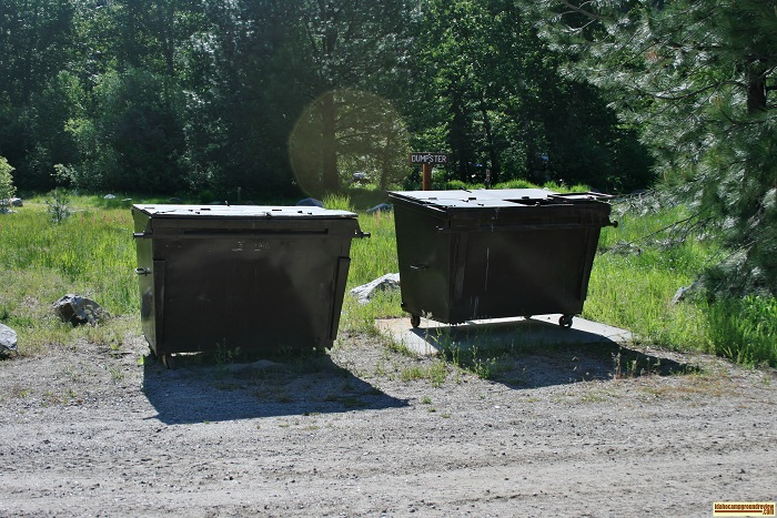 Elks Flat Campground Review, gabage dumpsters