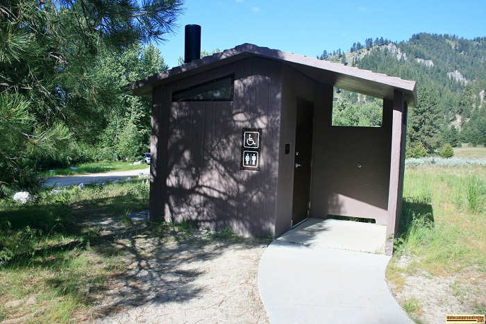Elks Flat Campground Review, outhouse