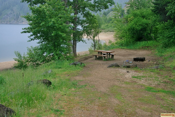 View of camping in Idaho at Evans Creek Campground on Anderson Ranch Reservoir. For all of you who love camping in Idaho.